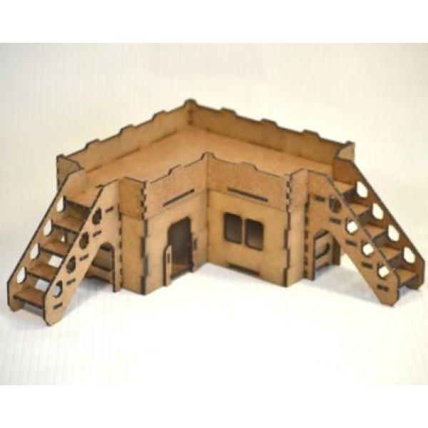 Здание малое угловое с наклонными лестницами (170х170х100 мм)